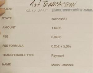 Abbildung des Belegs der ersten Transaktion über elopage